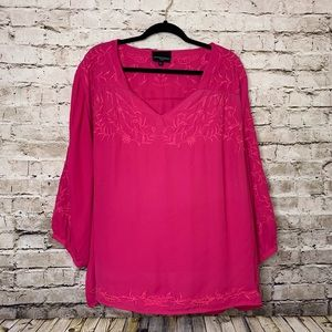 CYNTHIA ROWLEY EMBROIDERED BLOUSE PLUS SIZE 2X